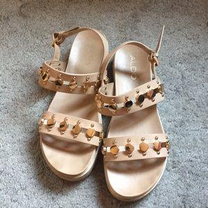 Aldo Beige + Gold Sandals